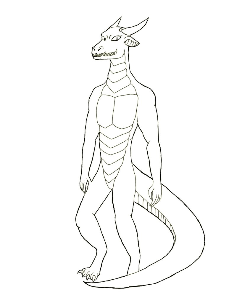 774x1032 Ender Dragon Anthro Black And White By Red Dragon X7