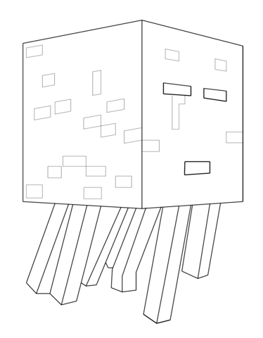 374x480 Minecraft Ghast Coloring Page Free Printable Coloring Pages