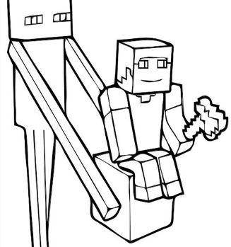 327x349 Enderman Is Building A House From Minecraft Coloring Page