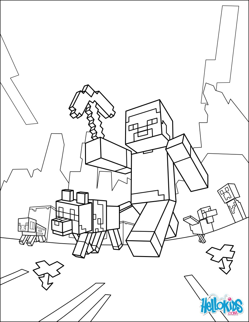 820x1060 Minecraft Coloring Page
