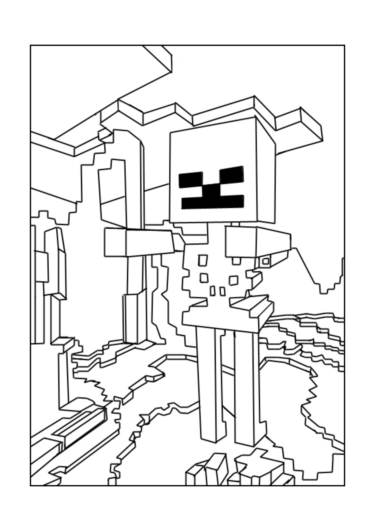 Beautiful 1295x1832 Minecraft Craft Coloring Pages Fresh A Minecraft Skeleton Coloring