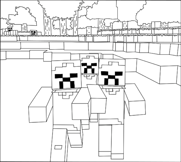 700x624 Minecraft Coloring Pages Wither Skeleton And Spider