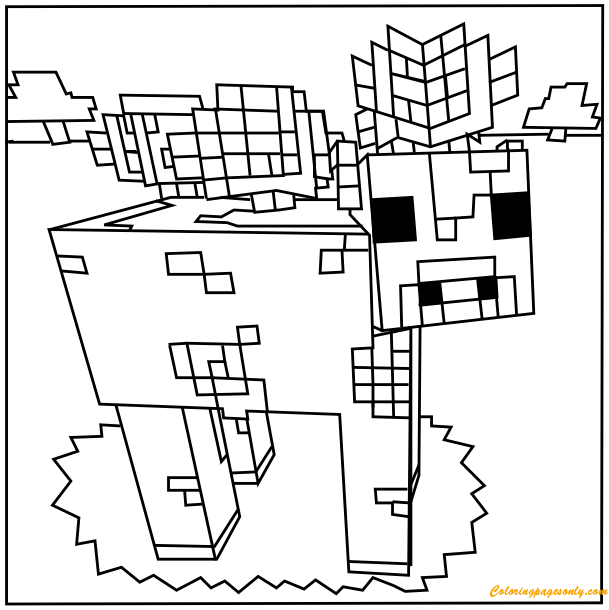 609x610 Minecraft Mooshroom Coloring Page