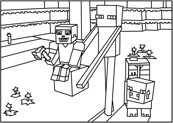 736x523 Awesome Printable Minecraft Coloring Pages For Printable Coloring