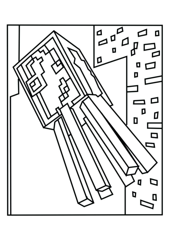 724x1024 Excellent Extraordinary Minecraft Spider Coloring Pages Kids Best