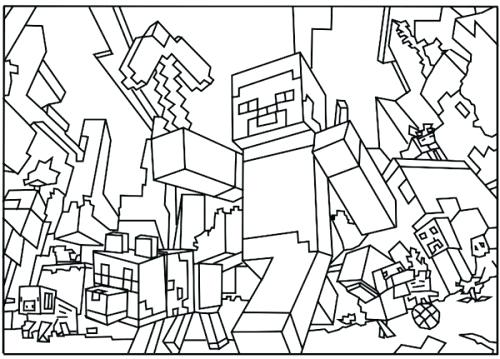 500x359 Minecraft Color Page Appealing Printable Coloring Pages For Free