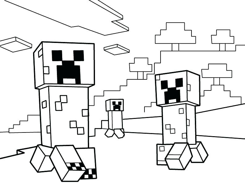 792x612 Minecraft Coloring Sheets To Print Page Creeper