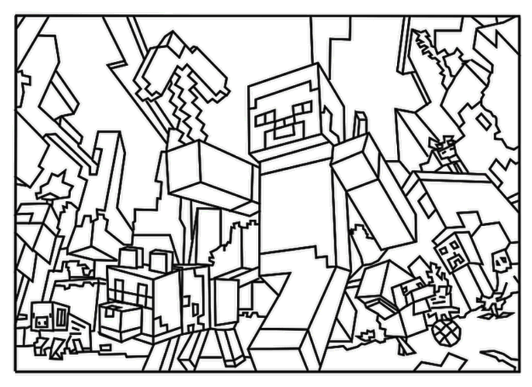 1702x1238 Printable Minecraft Colouring Pages For Kids