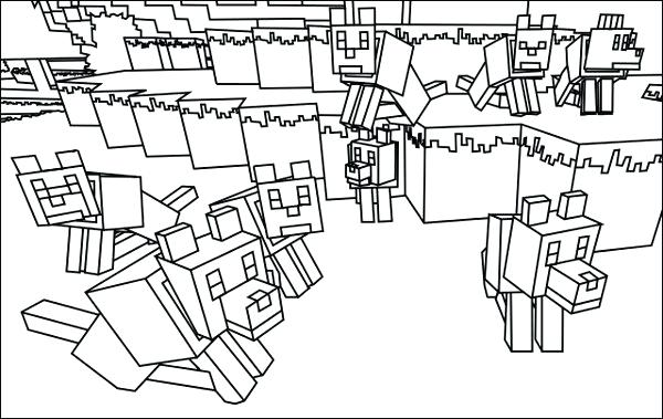 600x379 Coloring Pages Minecraft Wolf Page Colori On Minecraft Coloring