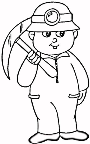 300x480 A Miner Coloring Page Free Printable Coloring Pages