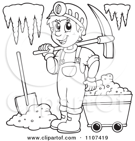450x470 Clipart Outlined Happy Miner In A Cave