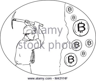 380x320 Drawing Sketch Style Illustration Of Bitcoin Miner Mining Digging