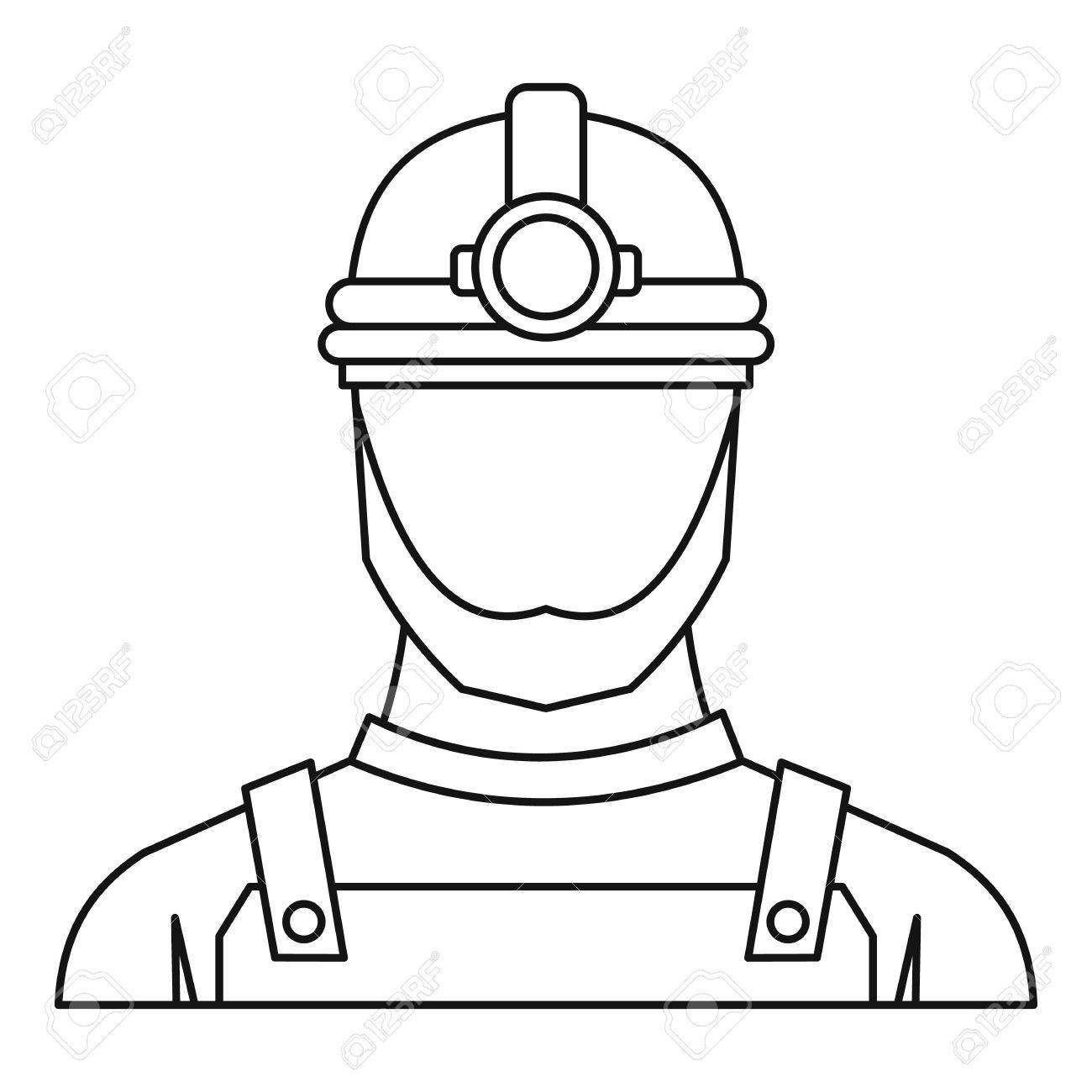 1300x1300 Male Miner Icon. Outline Illustration Of Male Miner Vector Icon
