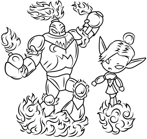 480x452 Skylanders Blast Zone And Mini Jini Coloring Page Free Printable
