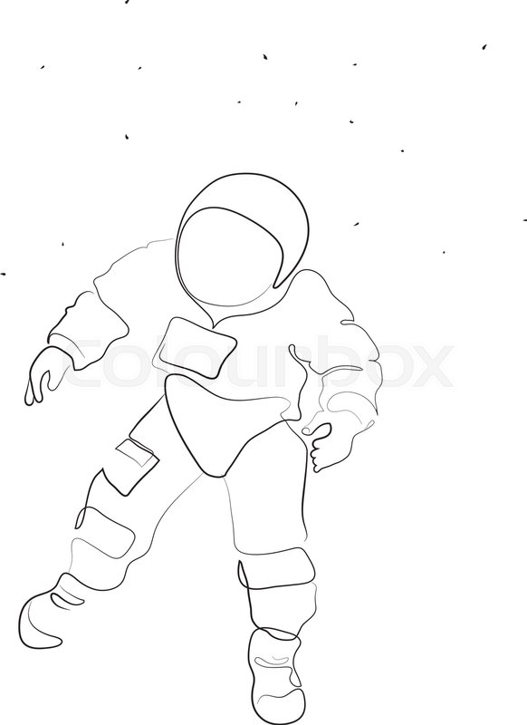 582x800 A Simple, Minimal Line Drawing With An Astronaut In Space Floating