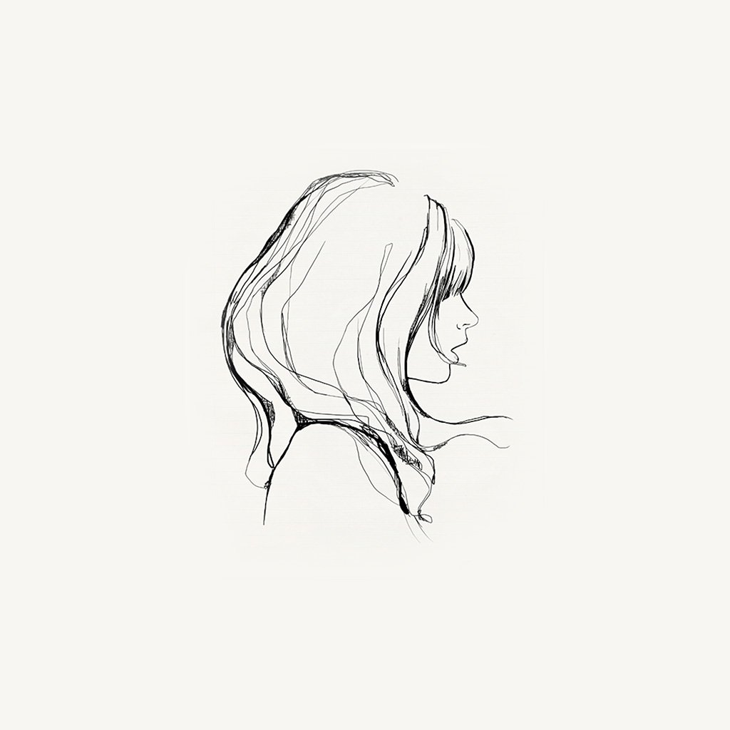 1024x1024 I Love Papers Az87 Drawing Simple Minimal Girl Illustration Art