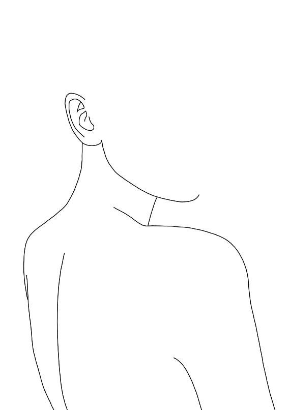570x806 A3 Giclee Print Minimal Line Drawing Of Woman's Back