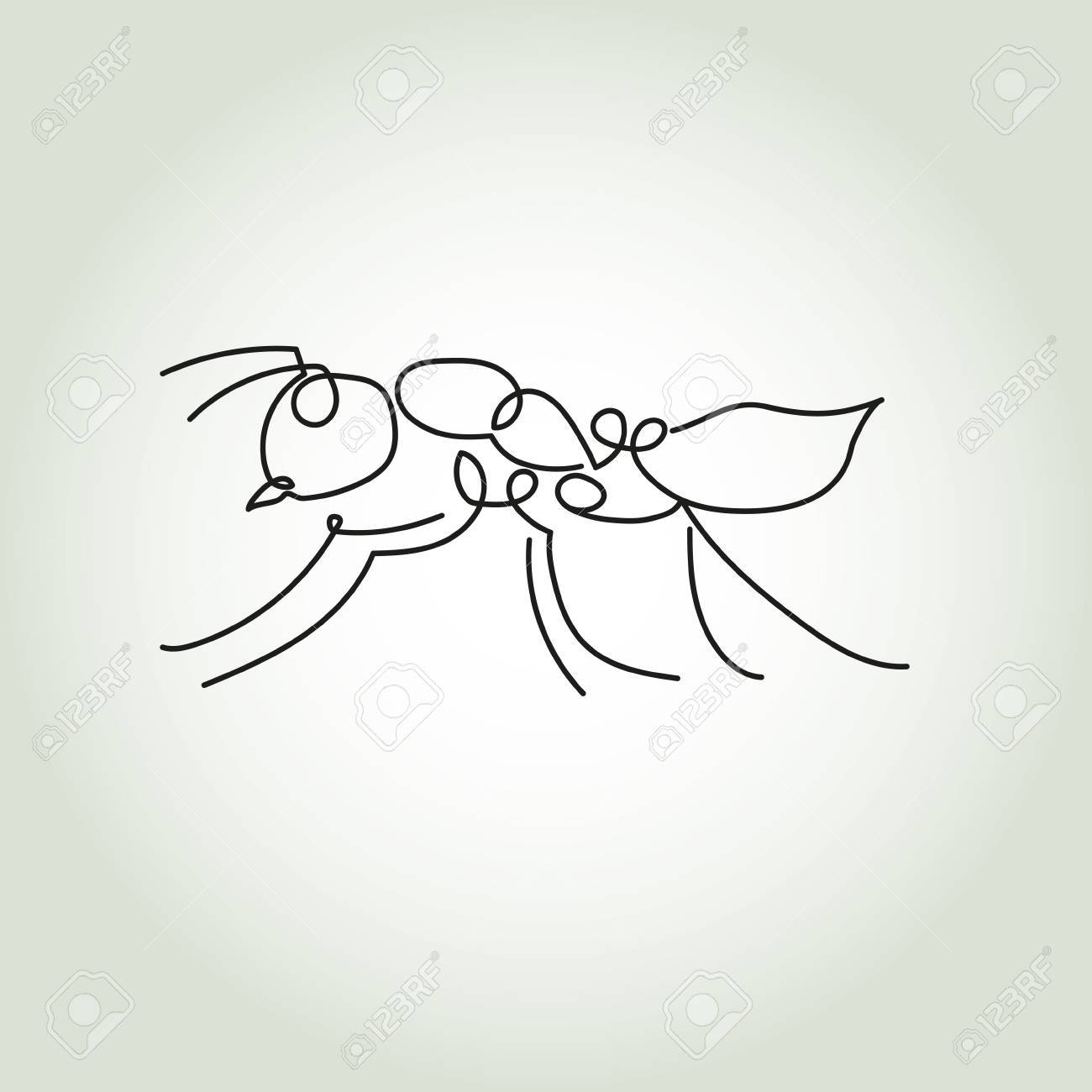 1300x1300 Ant Line In Minimal Style Vector Royalty Free Cliparts, Vectors