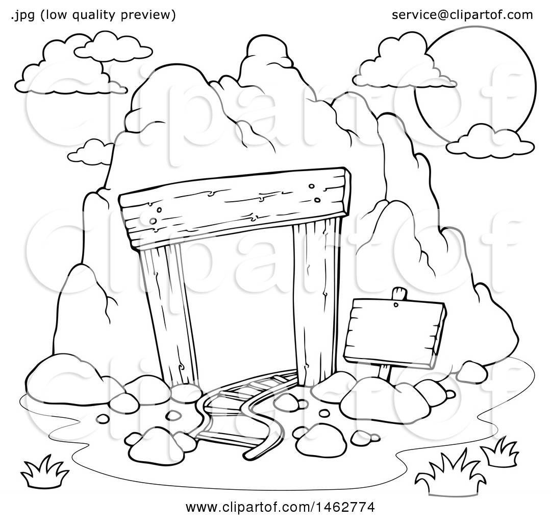1080x1024 Clipart Of A Black And White Mining Cave Entrance