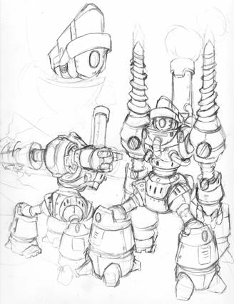 328x427 Mining Robot Sketch By Xcbdh