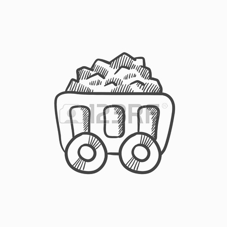 450x450 Mining Coal Cart Vector Sketch Icon Isolated On Background. Hand