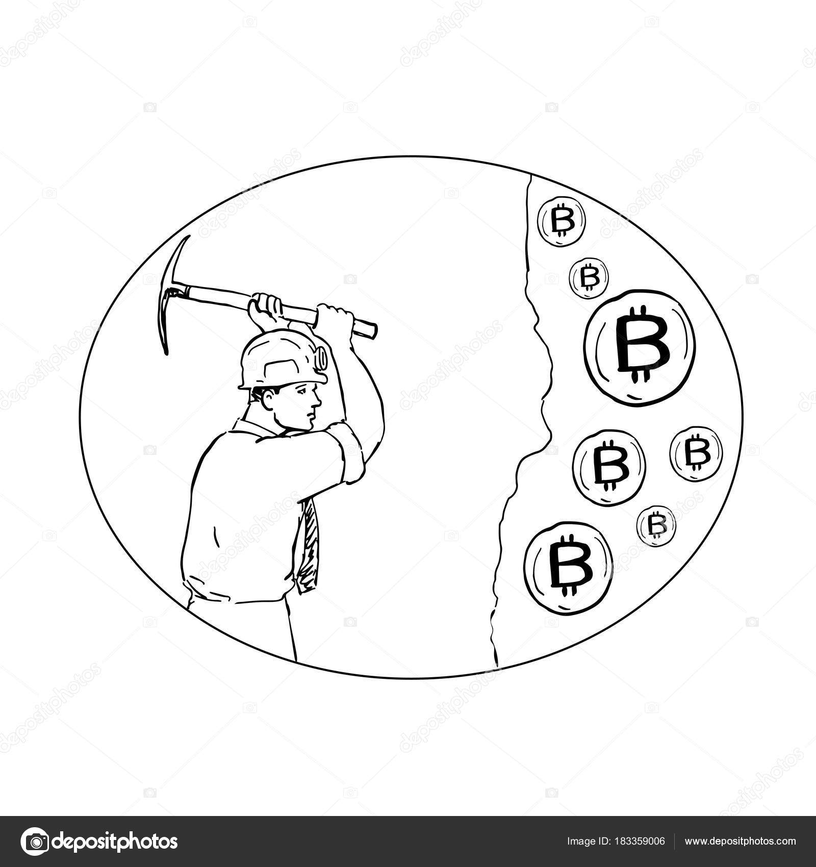 1600x1700 Bitcoin Miner Cryptocurrency Drawing Stock Vector Patrimonio