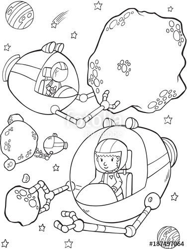 376x500 Outer Space Mining Vector Illustration Art Stock Image
