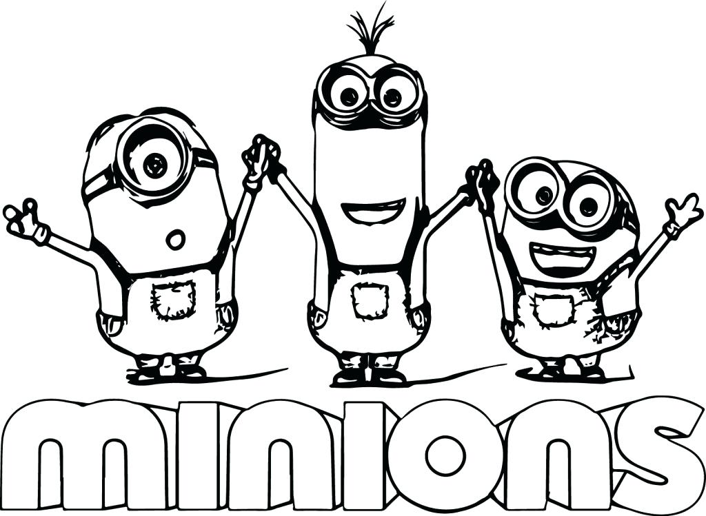 1024x749 Despicable Me Coloring Page Cute Bob And Bear Minions Coloring