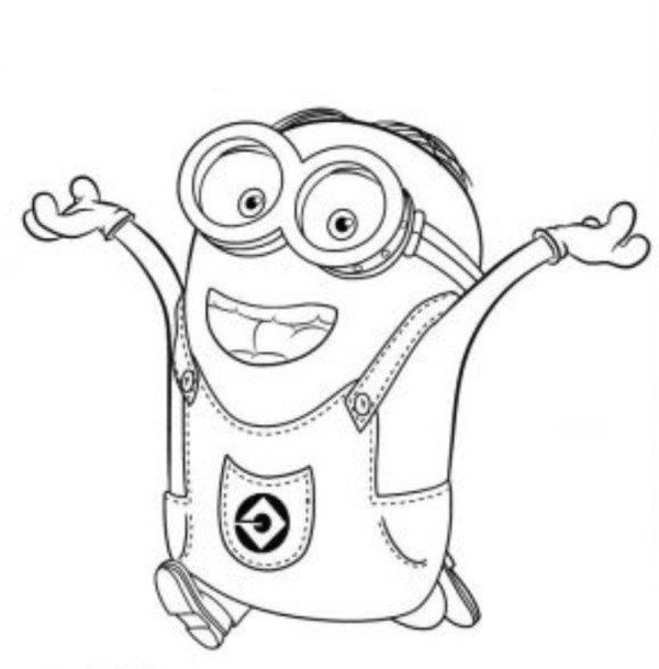 600x609 Dave Happy Two Eyed Minion Coloring Page