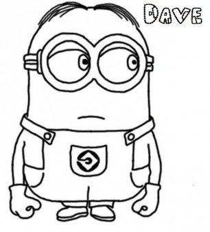 306x338 Dave The Minion Despicable Me 2 Coloring Page