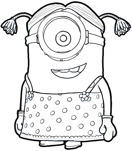 535x611 How To Draw Stuart The Minion Dressed As A Girl From Despicable Me