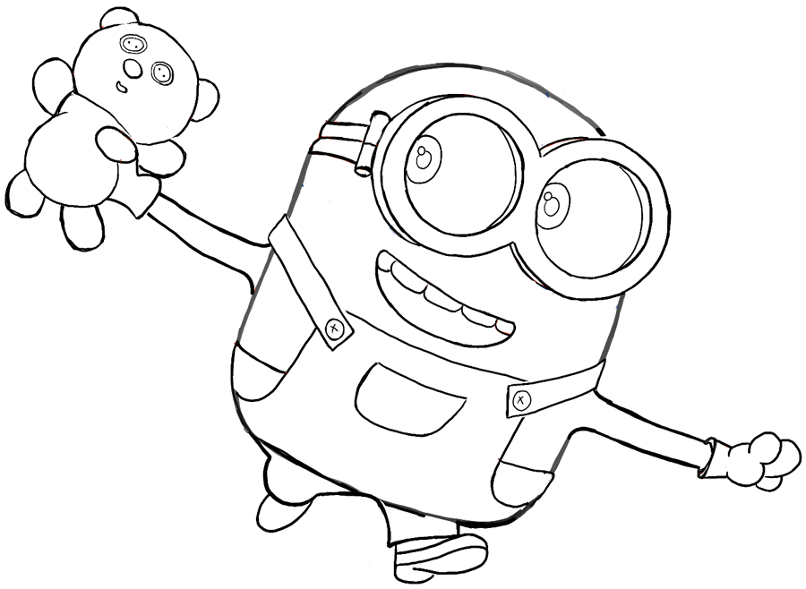 900x658 Finished Black And White Drawing Of Bob With His Teddy Bear