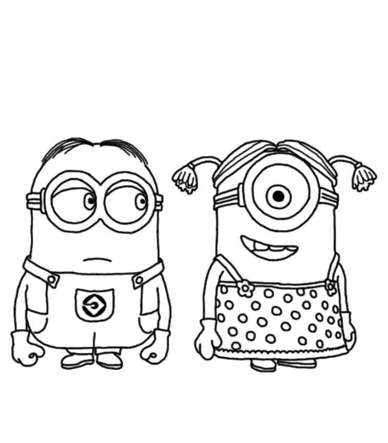 756x864 Download And Print Minion Couple Despicable Me Coloring Pages