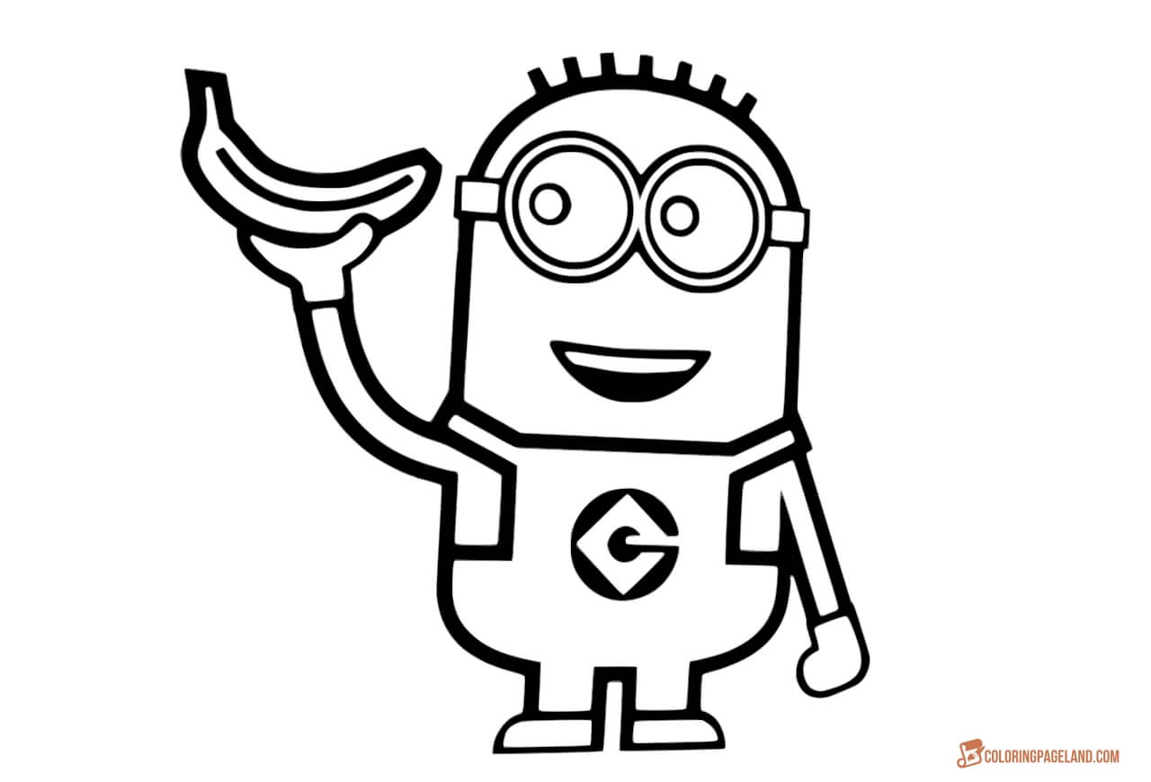 Minions coloring pages peace minion ~ Minion Drawing Template at GetDrawings.com | Free for ...