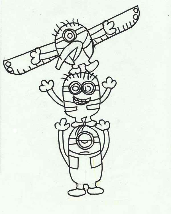 600x751 Minion Totem Poles Coloring Page