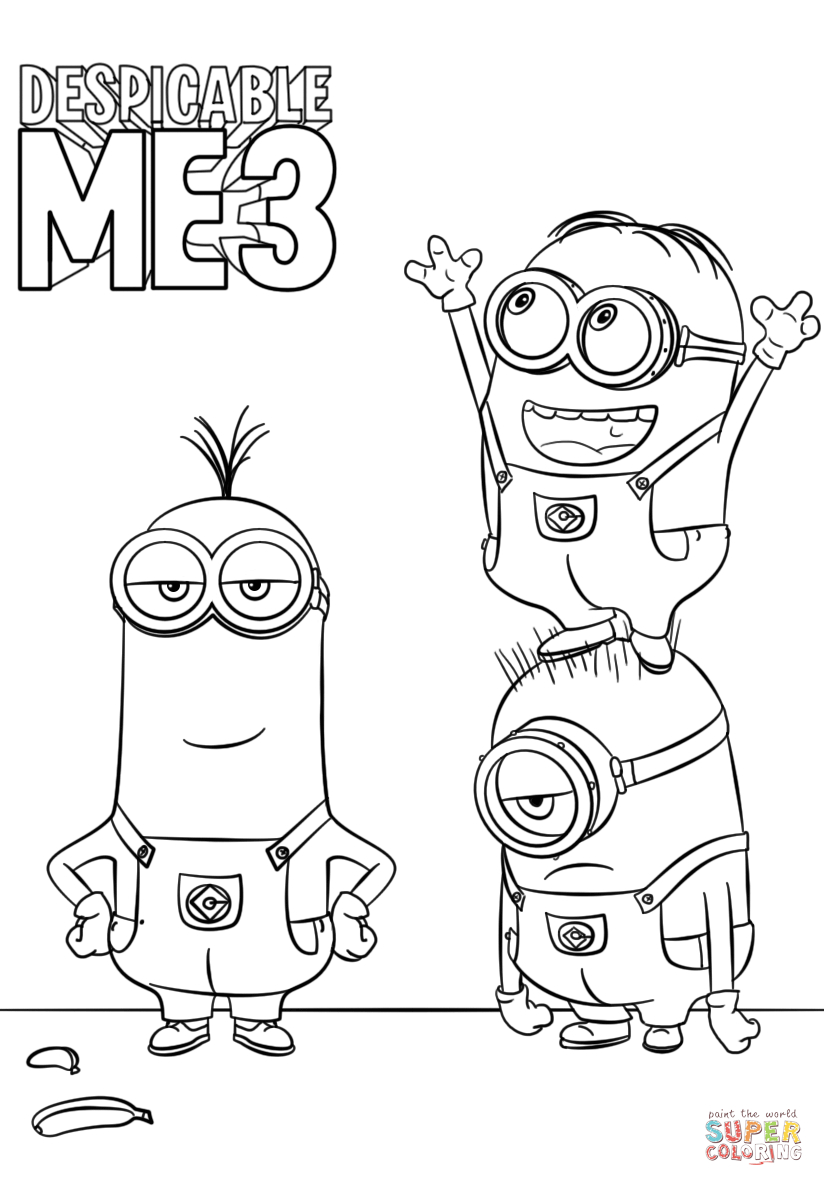 824x1186 Despicable Me Drawing Despicable Me 3 Minions Coloring Page Free