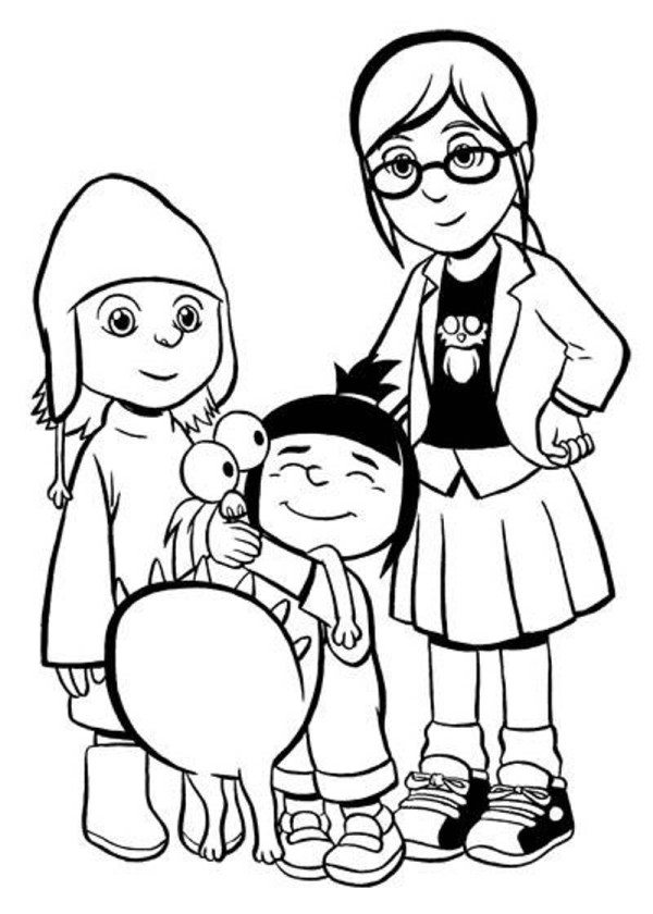 600x840 Despicable Me Coloring Pages The Girls