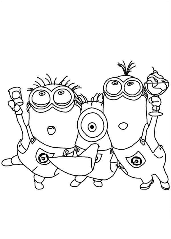 600x840 Minions Partying In Despicable Me Coloring Page