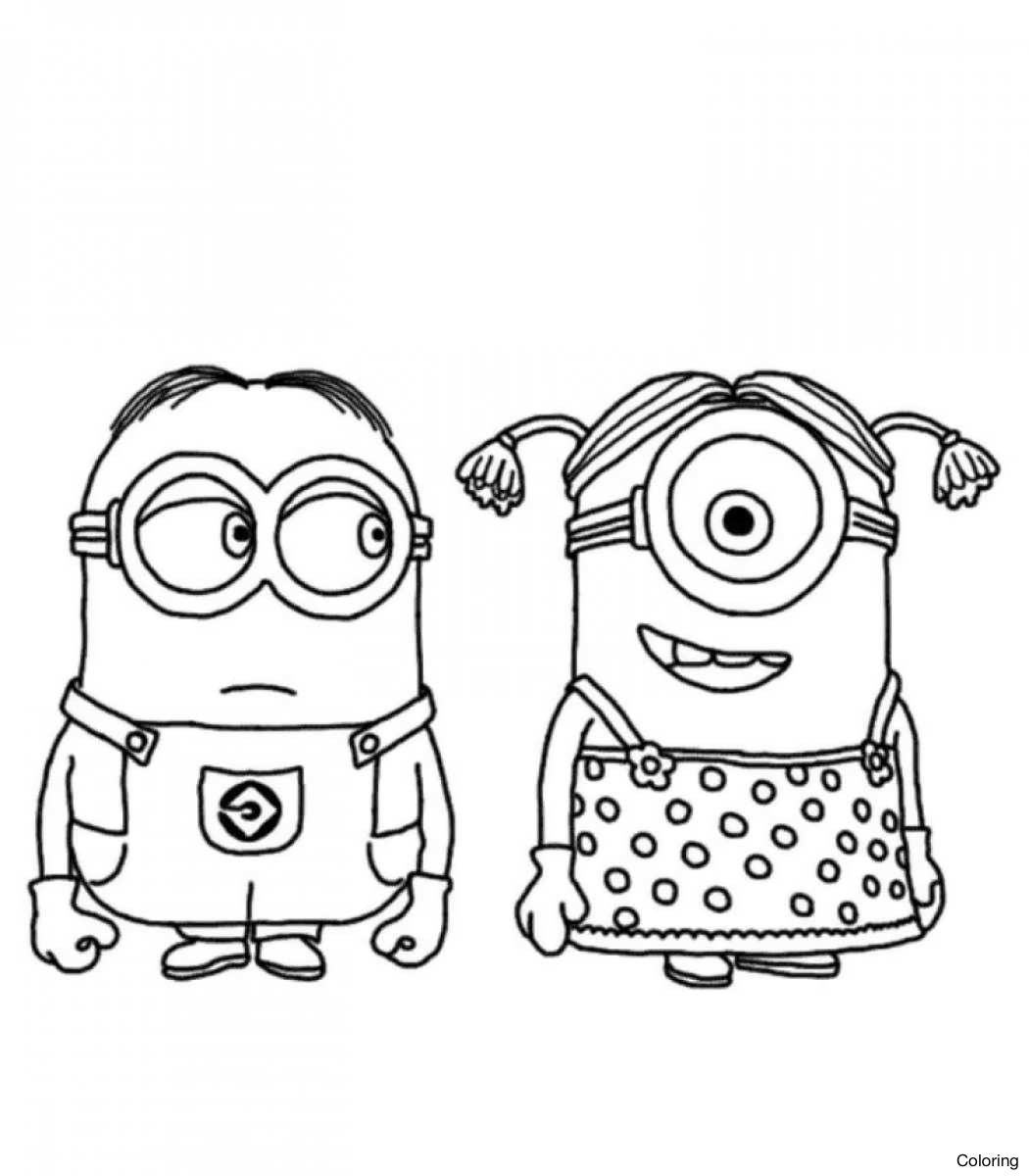1050x1200 Cute Bob And Bear Minions Coloring Page Inside Purple Minion Glum