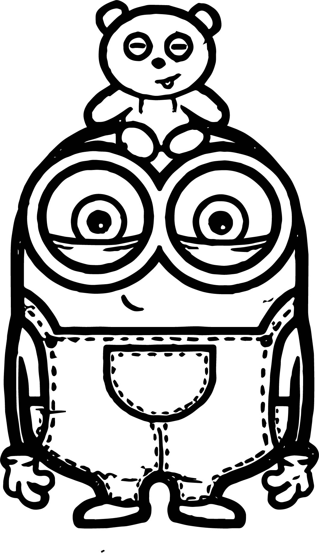 1061x1835 Minion Bob And Bear Toy Coloring Page Wecoloringpage
