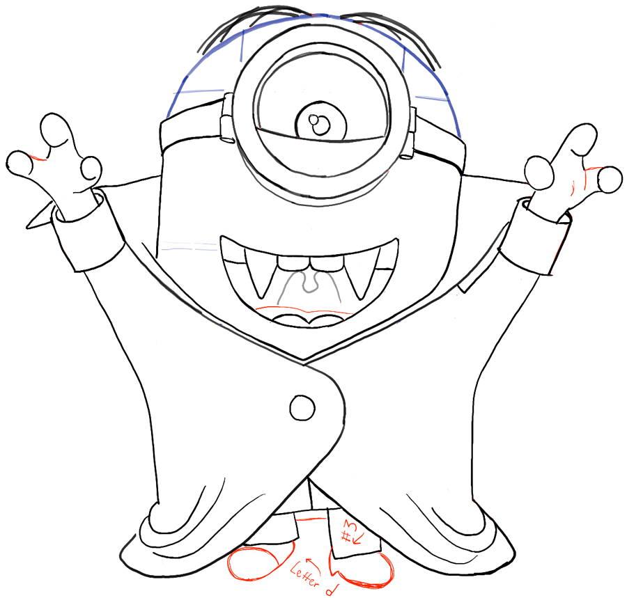 900x859 How To Draw Stuart As A Vampire From Minions Movie 2015 Drawing