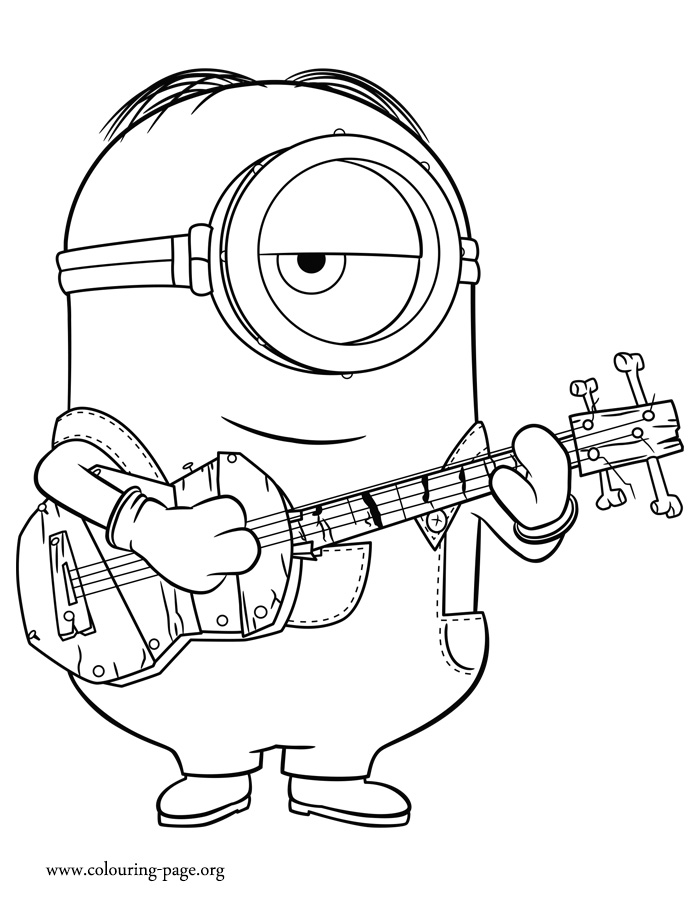 700x902 Minions Stuart Playing Guitar Coloring Page In Pages On Printable