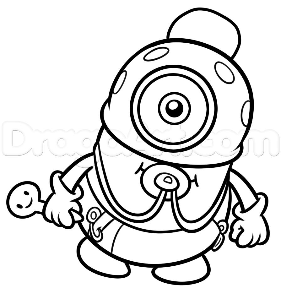 895x917 How To Draw Baby Minion Step 11 Minion Minion
