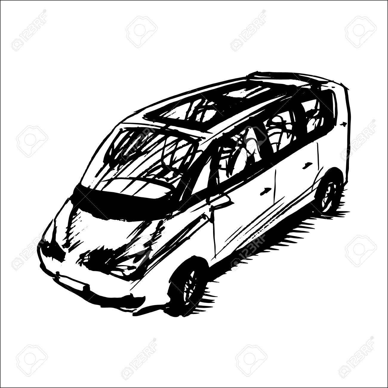 1300x1300 Car, Minivan, Vector Sketch Royalty Free Cliparts, Vectors,