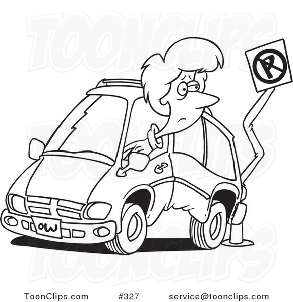 581x600 Cartoon Coloring Page Line Art Of A Lady Backing Her Minivan Into