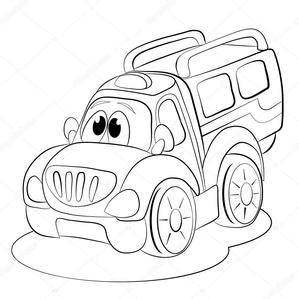 1024x1024 Cartoon Funny Car Minivan. Stock Vector Vitasunny