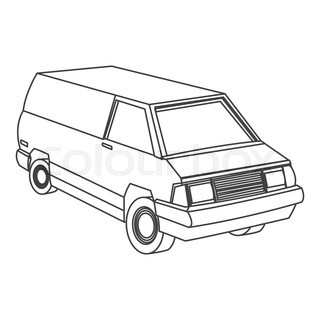 320x320 Commercial Tipper Isolated Top View Icon. Commercial Van, Modern