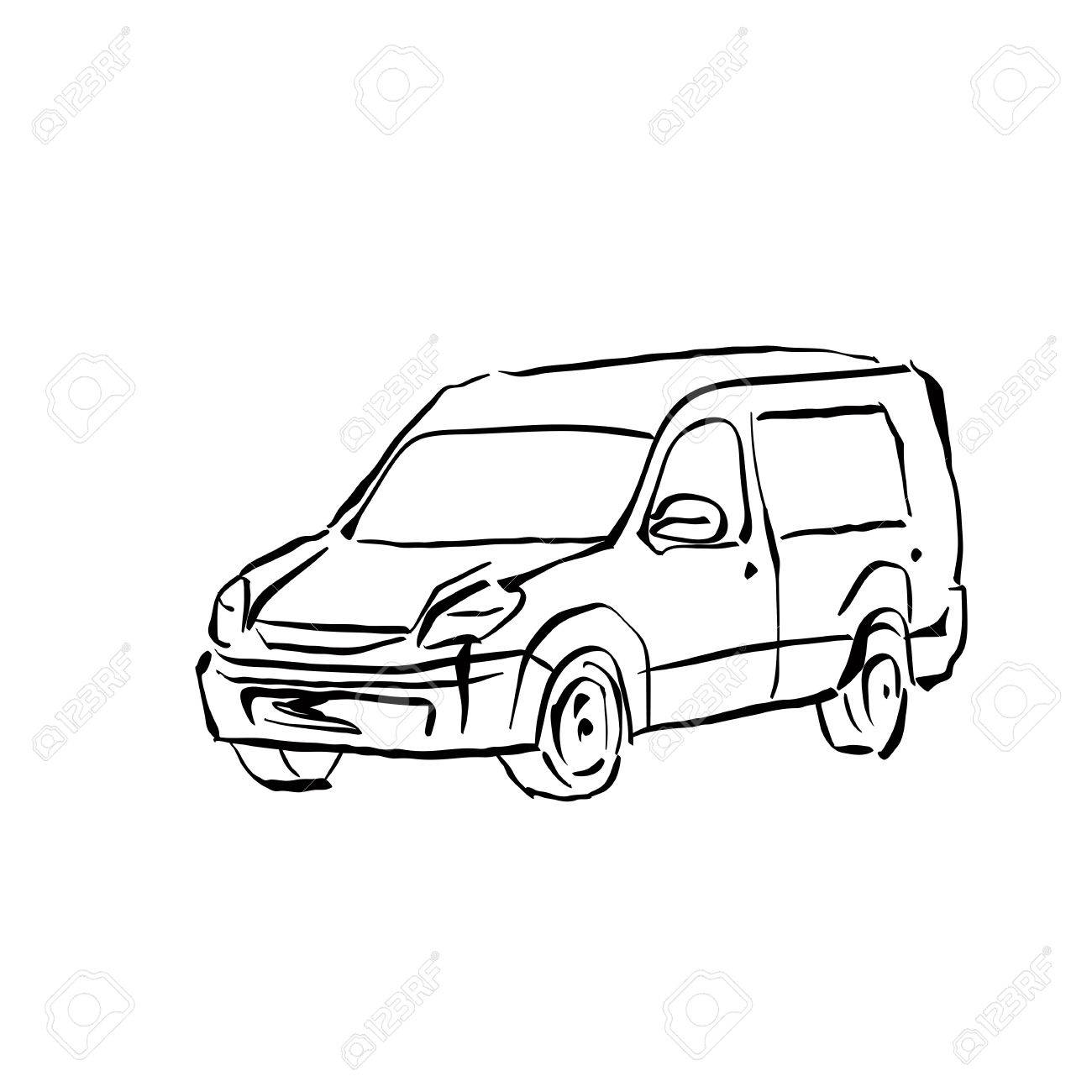1300x1300 Black And White Hand Drawn Car On White Background, Illustrated