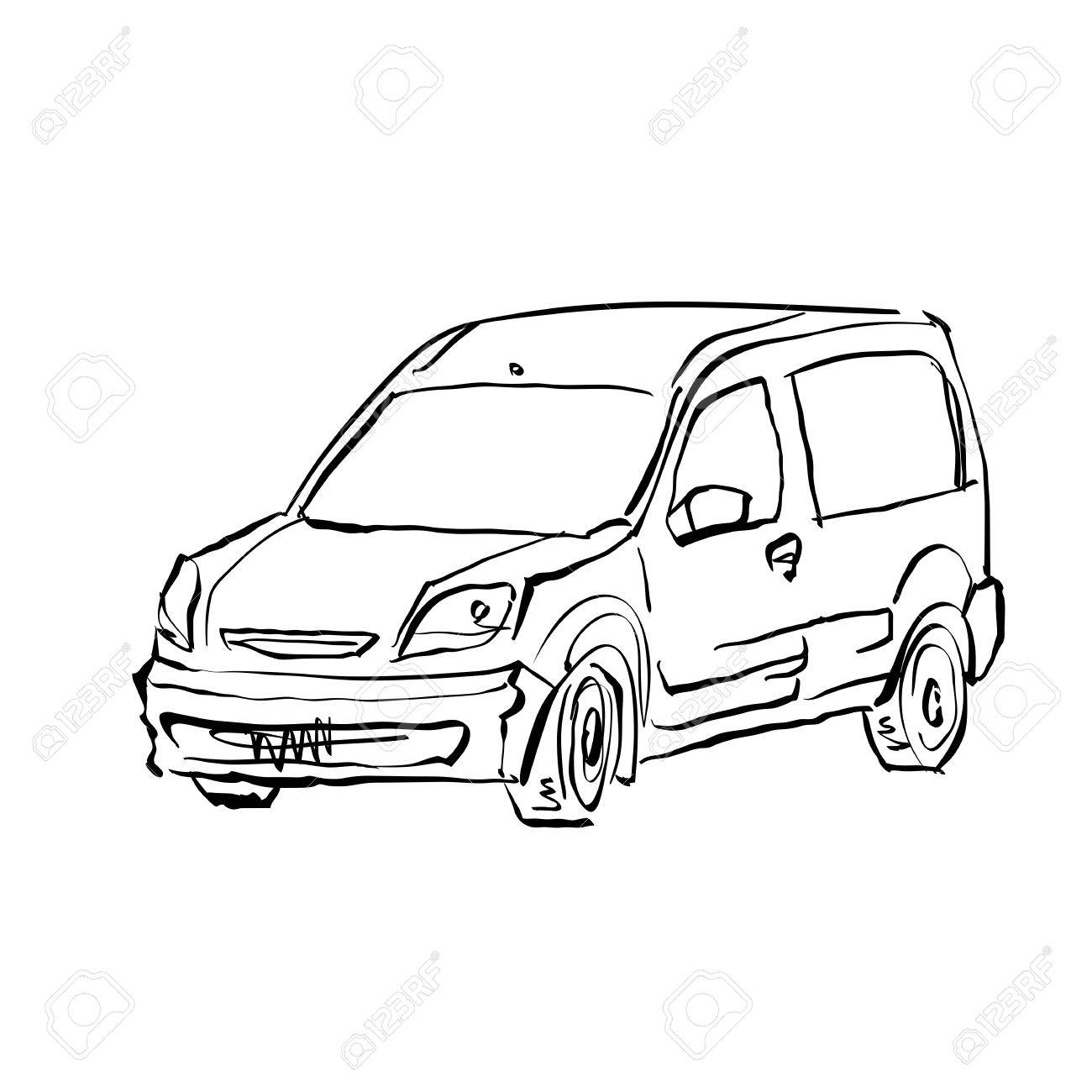 1300x1300 Black And White Hand Drawn Car On White Background, Illustration