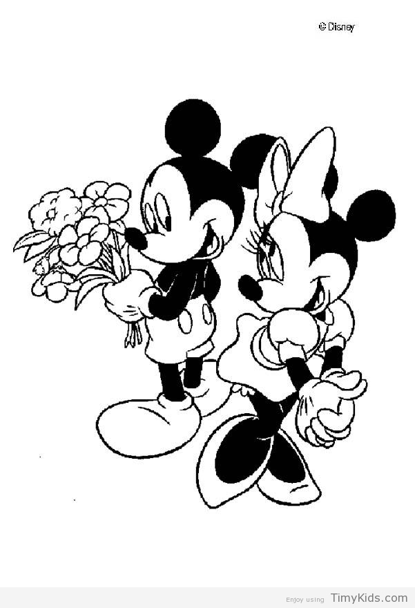 601x880 Minnie And Mickey Mouse Coloring Pages Timykids